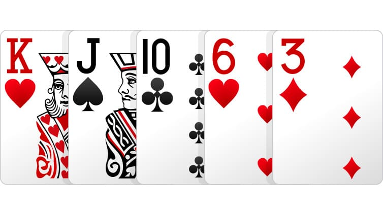 high card pada poker